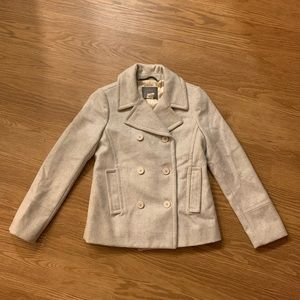 J. Crew Gray Double Breasted Wool Peacoat